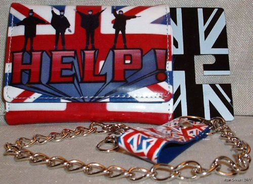 The Beatles British Flag HELP Tri-fold WALLET with chain