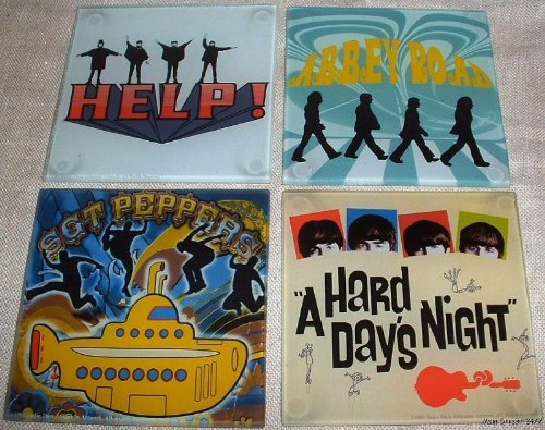 BEATLES Set of 4 Classic Songs Boxed Glass COASTERS