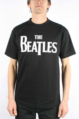 The Beatles Logo Adult / Guys T-shirt in Black, Size: X-Large, Color: Black