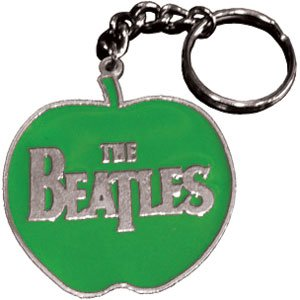 The Beatles – Silver Logo on Green Apple – Metal Keychain / Keyring / Key Ring / Key Chain